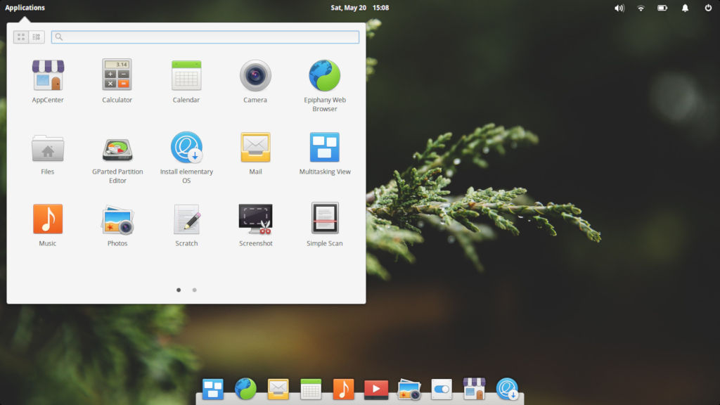 Elementary OS with Slingshot application menu